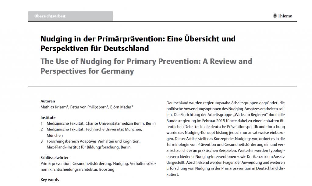 Krisam_Gesundheitswesen_Nudging in der Primärprävention in Deutschland