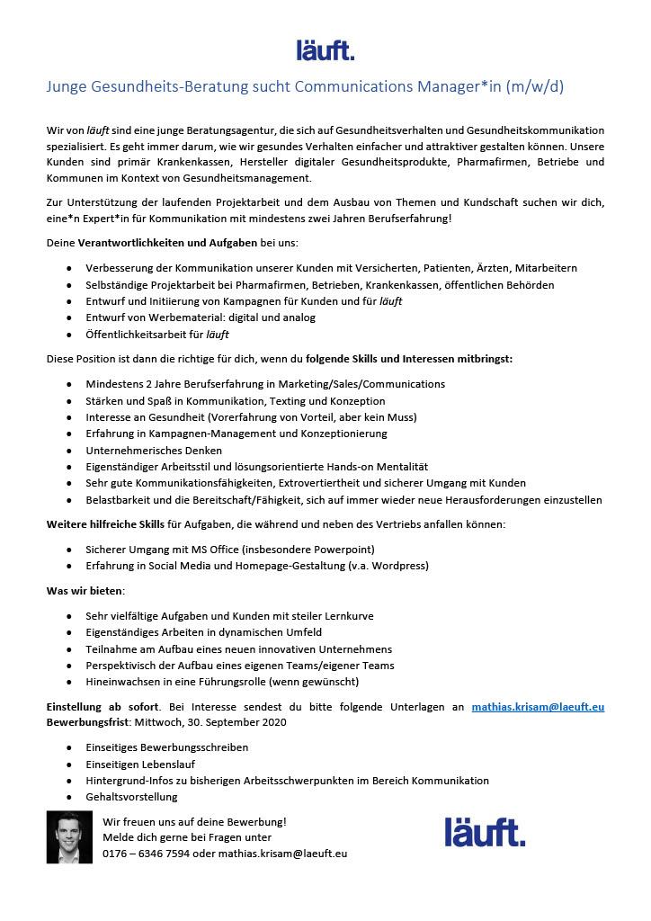 Stellenausschreibung_Communications Manager_läuft